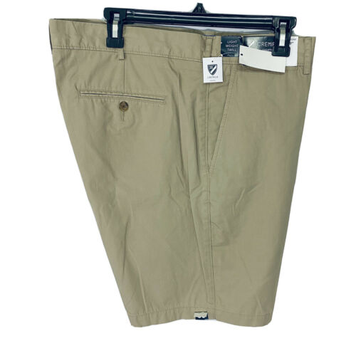 """Cremieux Mens Hampton Khaki Shorts 38 Flat Front 9"""" Light Weight Twill Clothing, Shoes & Accessories"""