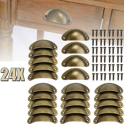 24x Cabinet Shell Pull Cupboard Door Drawer Cup Handle Knobs Kitchen Hardware US Pull Knob Hardware