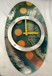 MODERN/CONTEMPORARY GREEN ACCENTS HAND PAINTED OVAL SHAPED CLOCK #171G