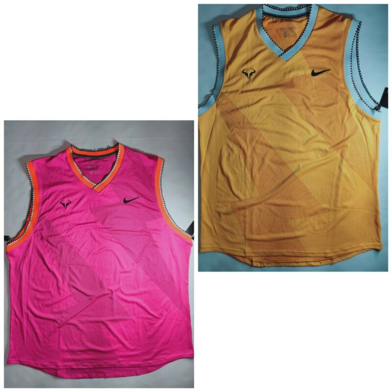 NIKE Rafael Nadal Tennis Top Dri-Fit Slim Fit- Spandez- Purple , Yellow Jersey