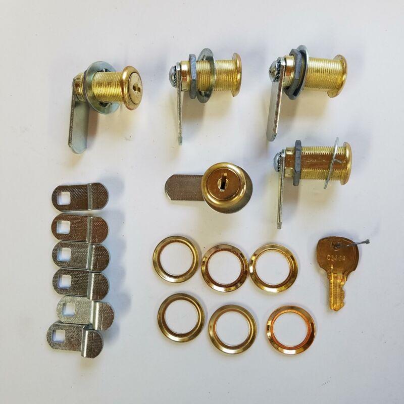 "5 NOS Cam Locks Bright Brass Keyed Alike C346A 2 Keys 1-3/4"" Cam+Formed+Trim USA"