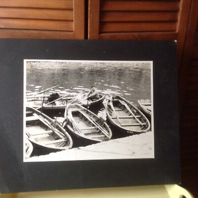 VINTAGE BLACK & WHITE PHOTOGRAPH WOODEN ADIRONDACK GUIDE BOATS FISHERMAN MATTED