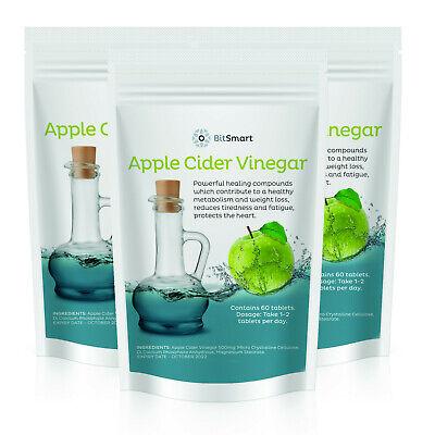 Apple Cider Vinegar Tablets 500mg Pills - UK GMP Quality -  Weight Loss - Vegan