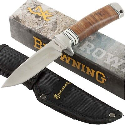 Browning Stacked Leather Handles Fixed Blade Hunting Knife BR814 Sheath -