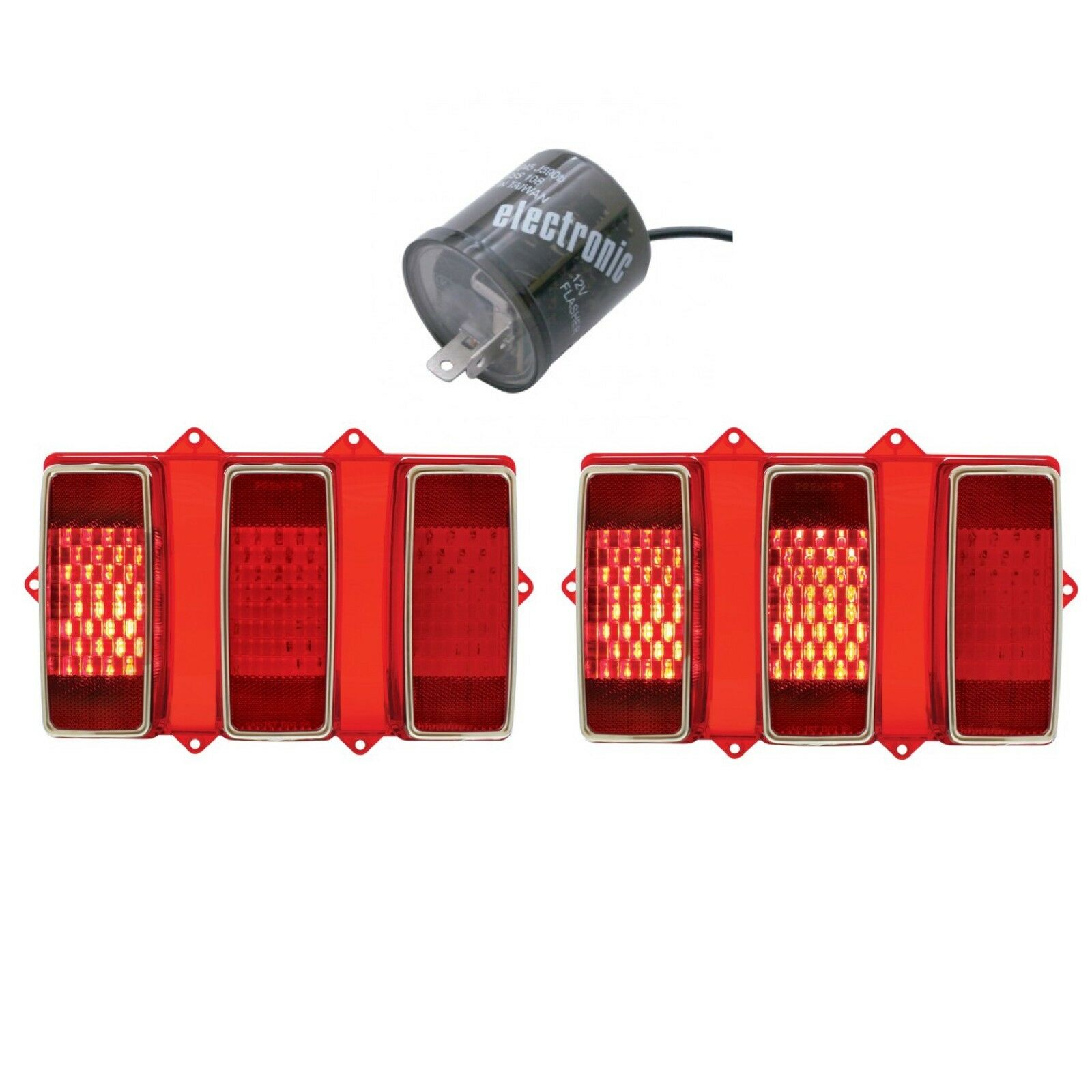 110107-2 1969 Ford Mustang Sequential LED Tail Light Pair/Set with LED Flasher