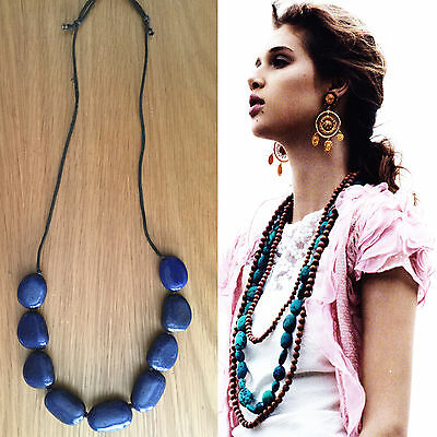 DRIES VAN NOTEN ANTWERP BELGIUM RESINE KOBALT BLEU BIG NECKLACE COLLIER