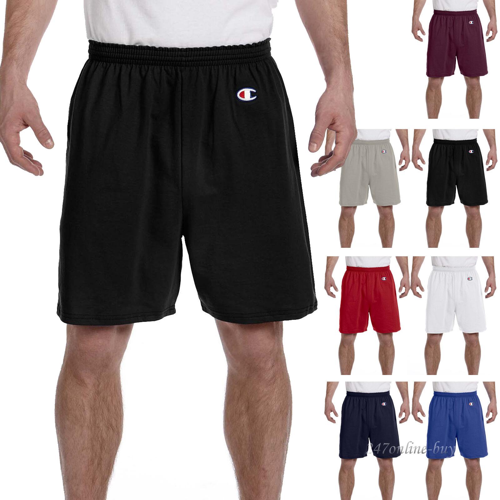 "Champion Mens Cotton Shorts 6"" Inseam Gym Athletic Basketbal"