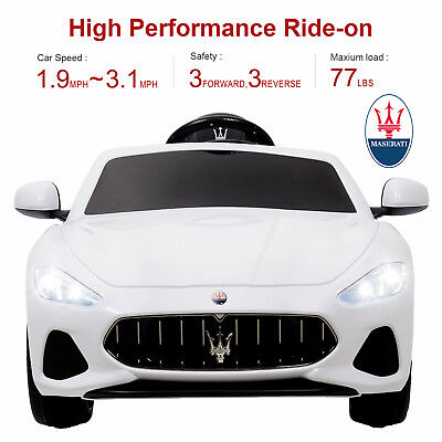 Maserati Gran Cabrio 12V Electric Kids Ride On Toy Car with Remote Control White
