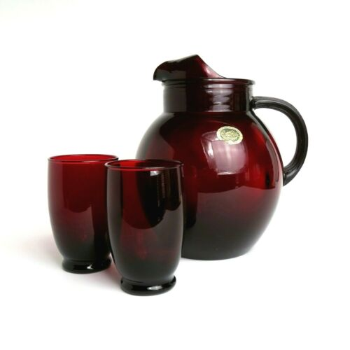 """Vintage ANCHOR HOCKING Royal Ruby Red Glass BALL PITCHER & 2 Glasses 96 oz 9"""""""