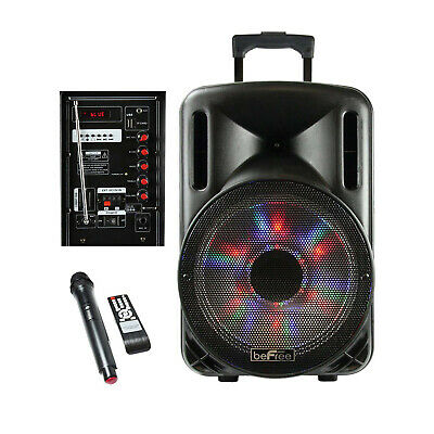 "BEFREE SOUND 12"" BLUETOOTH PARTY KARAOKE PA DJ SPEAKER w/ LIGHTS MIC & REMOTE"