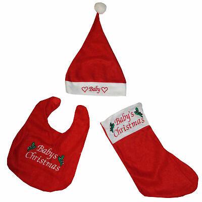 Baby Set Weihnachten Weihnachtsmütze Handschuhe Latz Geschenkidee Scherzartikel