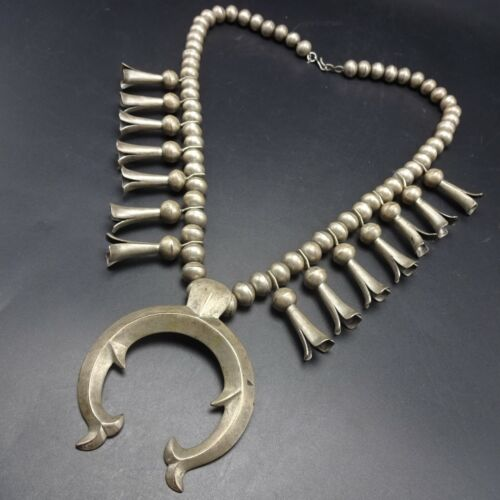 1920 to 1930s OLD NAVAJO Sterling Silver SQUASH BLOSSOM Necklace with Cast Naja