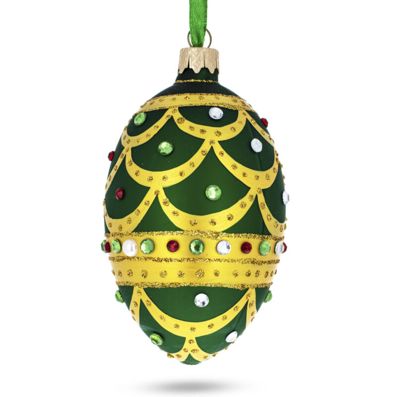 Gold Scallop on Green Jeweled Egg Glass Ornament