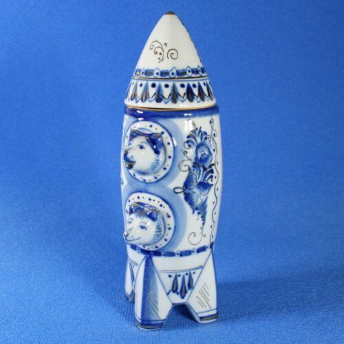 GOLD, Belka & Strelka, Space dogs, Gzhel Porcelain Shtof, Rocket USSR