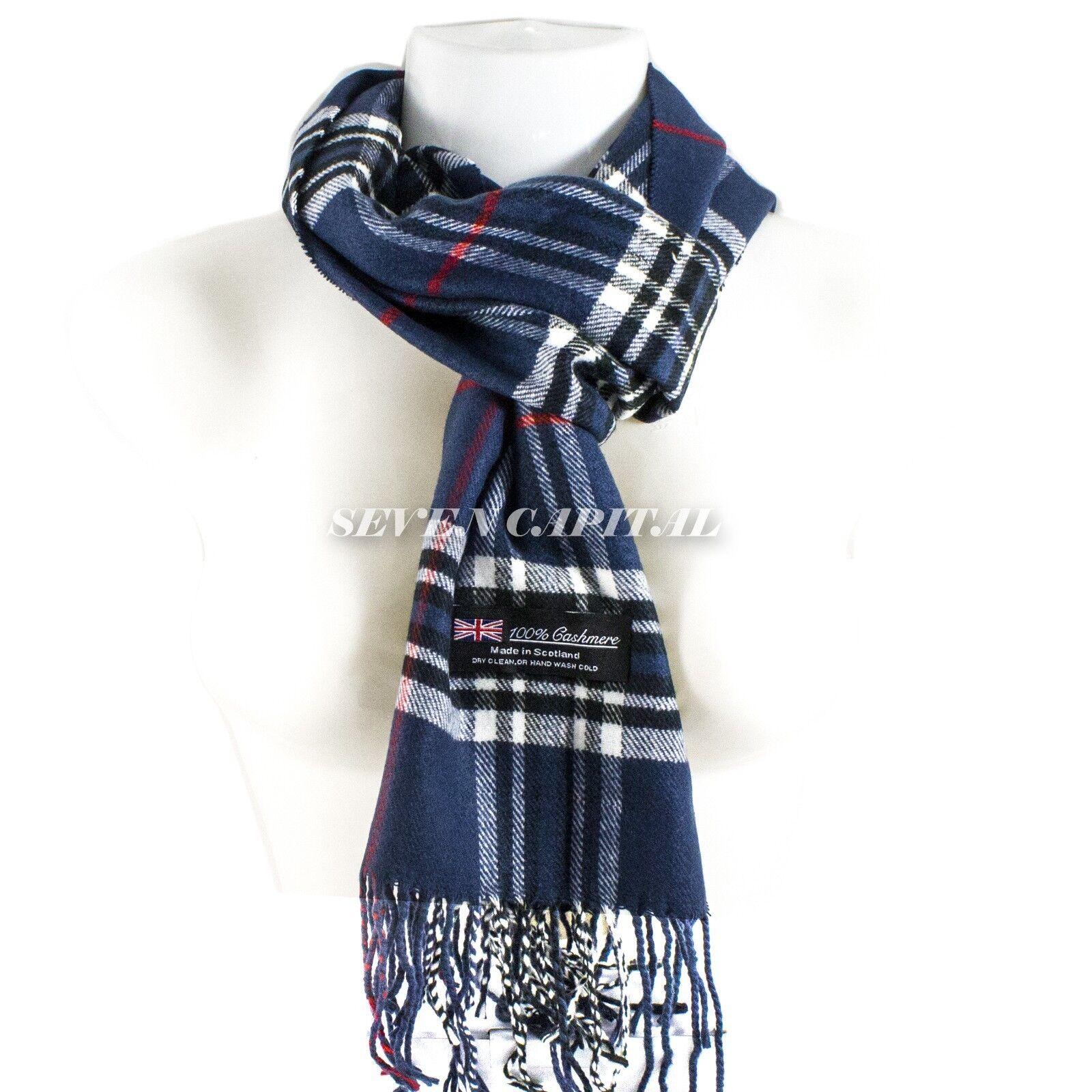 Mens Womens Winter Warm SCOTLAND Made 100% CASHMERE Scarf Scarves Plaid Wool 6. Plaid: Navy/White/Black