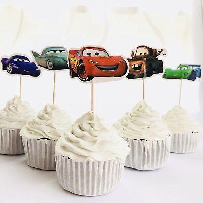 Cars Cupcake (12 x Disney Cars CUPCAKE CAKE TOPPER Party Supplies Pick Food Lightning)