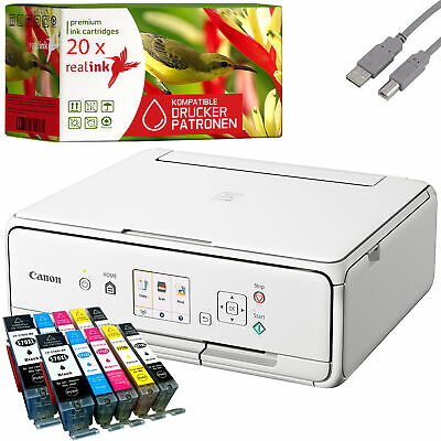 Canon PIXMA TS5051 Multifunktionsgerät Drucker Scanner Kopierer weiß 20 Tinten
