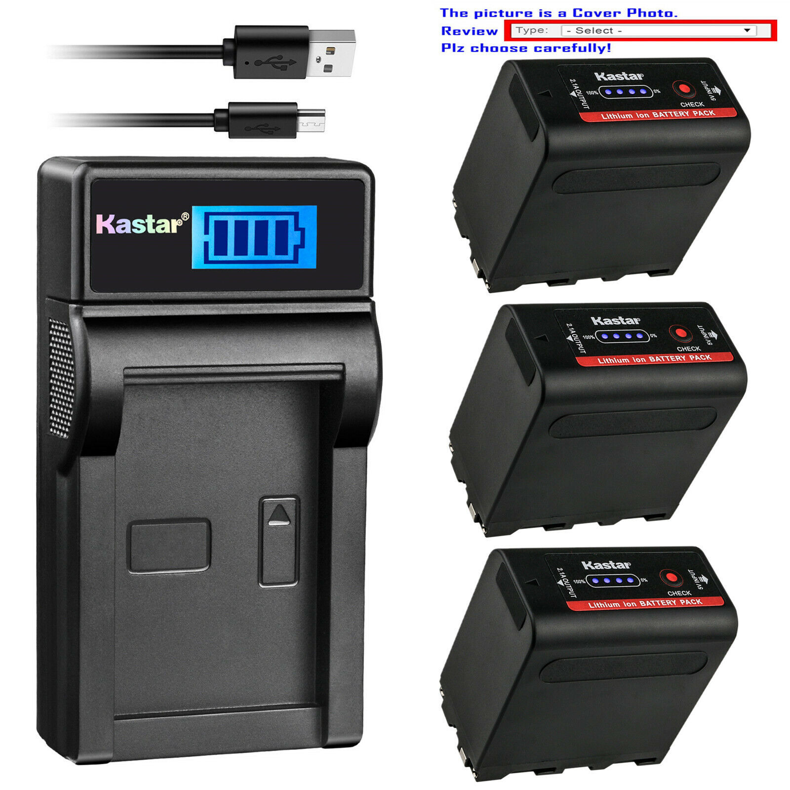 Kastar F980 Battery LCD Charger For Sony NP-F960 CCD-TR414 CCD-TR427 CCD-TR515 - $7.99