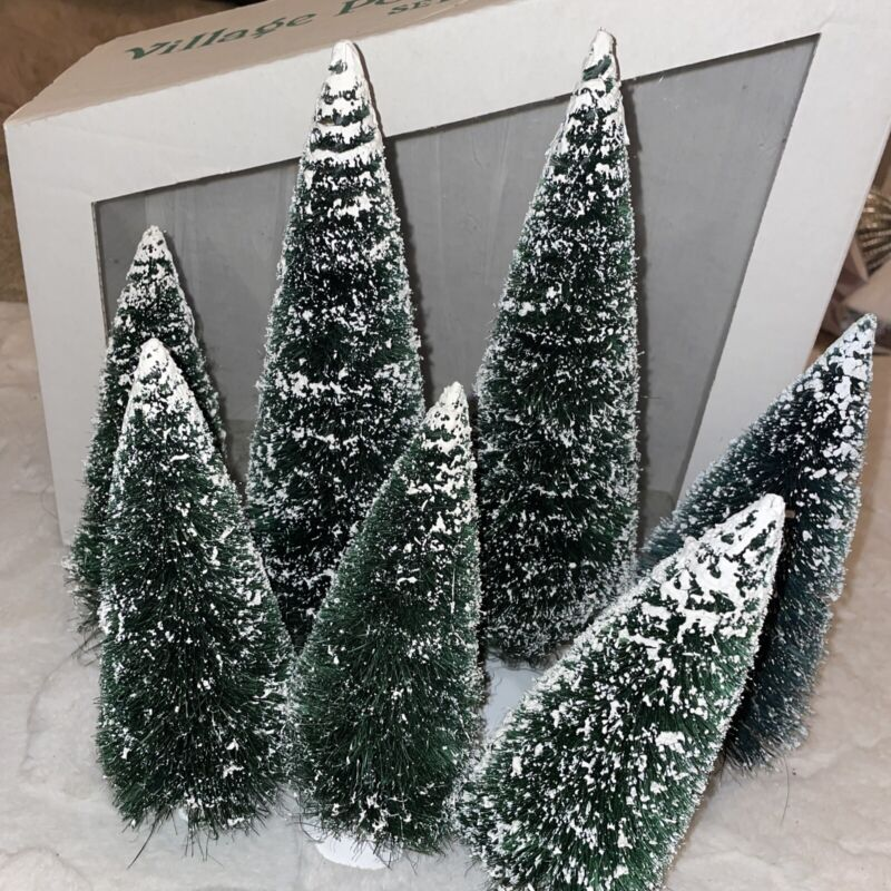 """Dept 56 Snow Village Frosted Winter Pine Trees Lot of 6 Ranging 6-10"""" Snow Cap"""