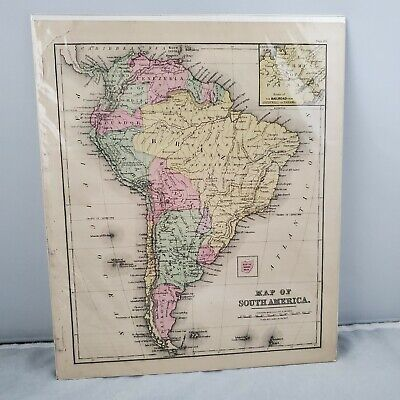 1877 Cowperthwait Warrens Antique COLOR Map of SOUTH AMERICA   Covered Protected
