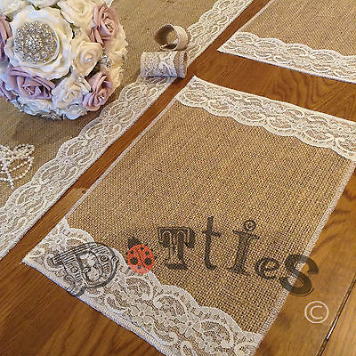 10 x overlocked Hessian and lace handmade Table Mats
