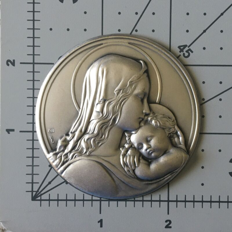 Vintage Old Repousse Mother Marry & And Baby Jesus Plaque Plate Brass MP 1/1