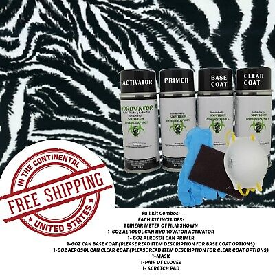 Hydrographic Water Transfer Hydro Dip Full Kit Activator Zebra Print Film