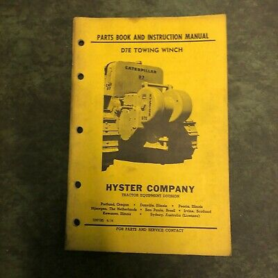 Hyster Winch Parts Catalog Instruction Manual D7 D7e Cat Dozer Nice Power