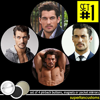 David Gandy SET OF 4 BUTTONS or MAGNETS or MIRRORS pinback badges pins #1160 Craft Badges Pins
