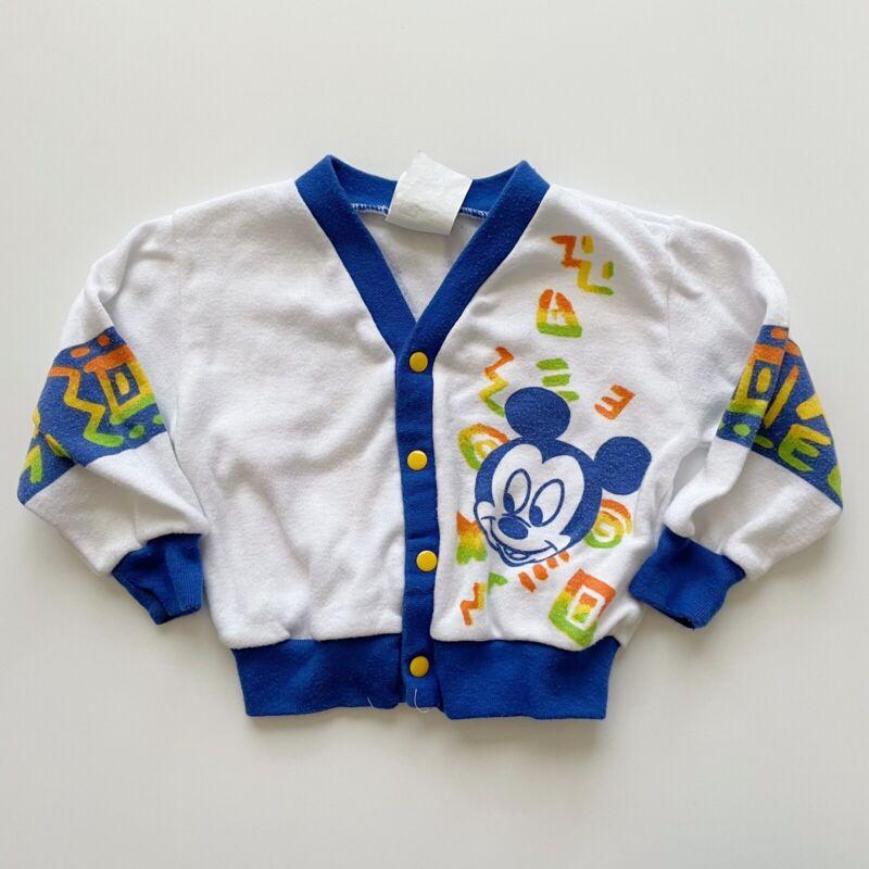 Vintage Disney Babies Surf Mickey Mouse Cardigan Sweater Unisex Sz 12 Months