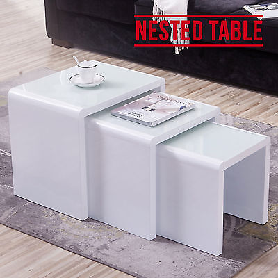 Design High Gloss White + White Glass Nest of 3 Coffee Table Living Room