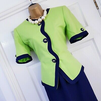 Vintage Kasper women 2 Piece Skirt Jacket Suit US 6 UK 10 Lime Green Navy Formal