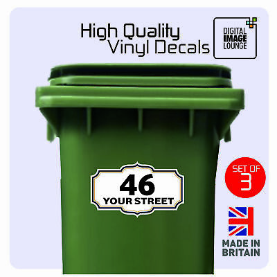 3 x WHEELIE BIN NUMBERS CUSTOM HOUSE & ROAD STREET NAME STICKERS 205X125 PRINTED