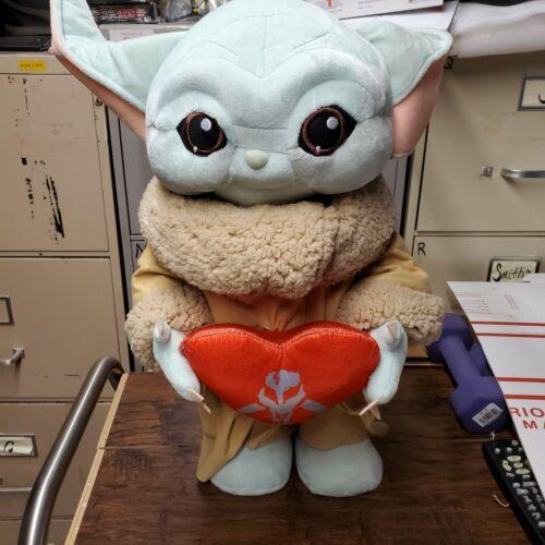"Star Wars Disney The Mandalorian Baby Yoda Plush 17"" Holiday Valentine Greeter"