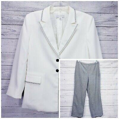 Petite Sophisticate Ivory Black Pant Jacket Lined Suit Size 10