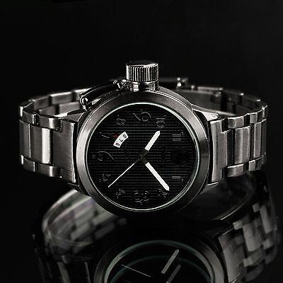 INFANTRY Men's Quartz Wrist Watch Diver Analog Date Sport Black Stainless Steel