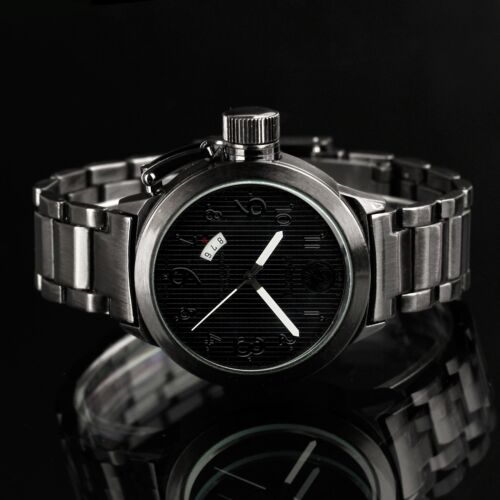 INFANTRY Men's Quartz Wrist Watch Diver Analog Date Sport Black Stainless Steel