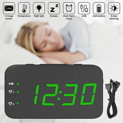 Modern Digital LED Display Humidity Desk Clock Alarm Snooze Voice Control Timer