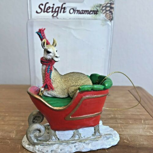 Llama Christmas Ornament Sleigh Light Brown Tan Llama New