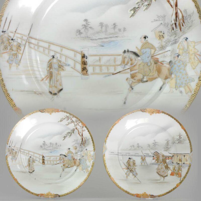 Plates – Porcelain – Meiji period Warrior Horse Scene – Japan Circa 1900...