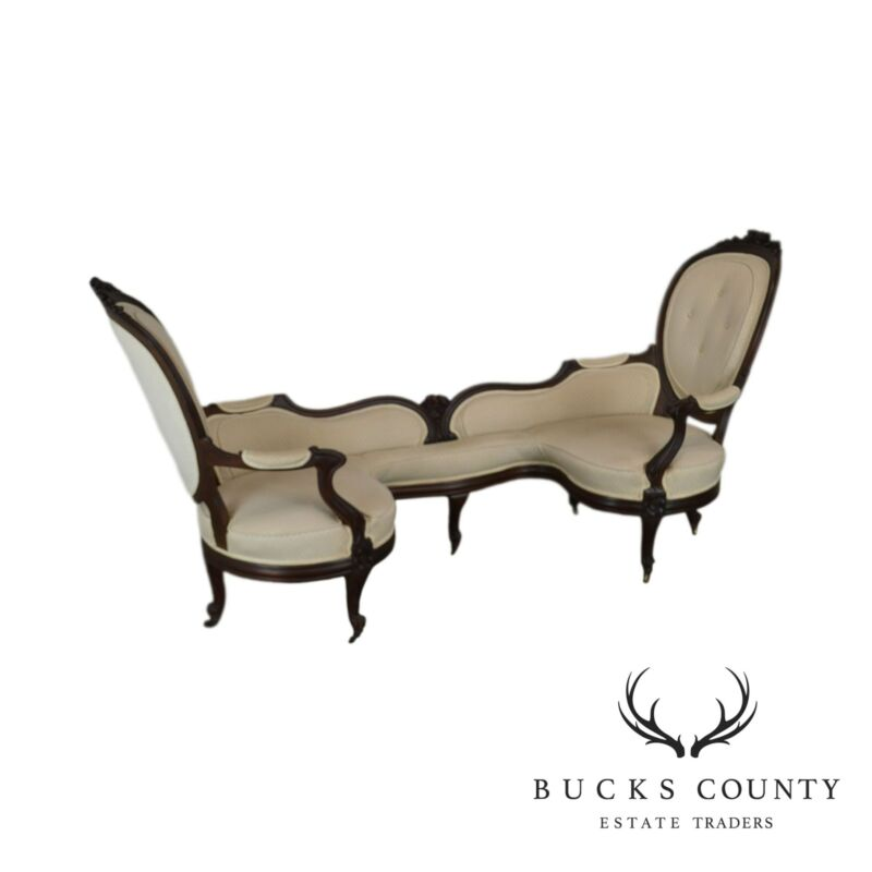 Antique Victorian Walnut Unusual Tete-Tete Sofa
