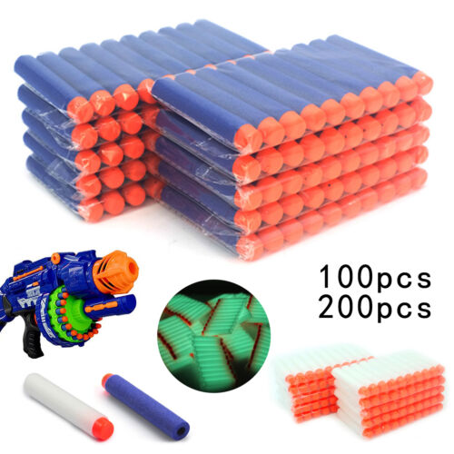 100-200pc Gun Soft Refill Bullets Darts Round Head Blaster For Nerf N-Strike Toy