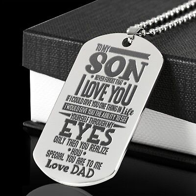 To My Son See Yourself Through My Eyes Love Dad Dog Tag Graduation Birthday Gift