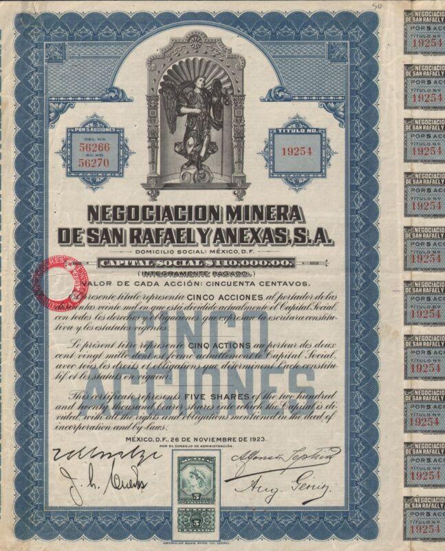 MEXICO SAN RAFAEL MINING COMPANY BOND stock certificate 1923  W/COUPONS