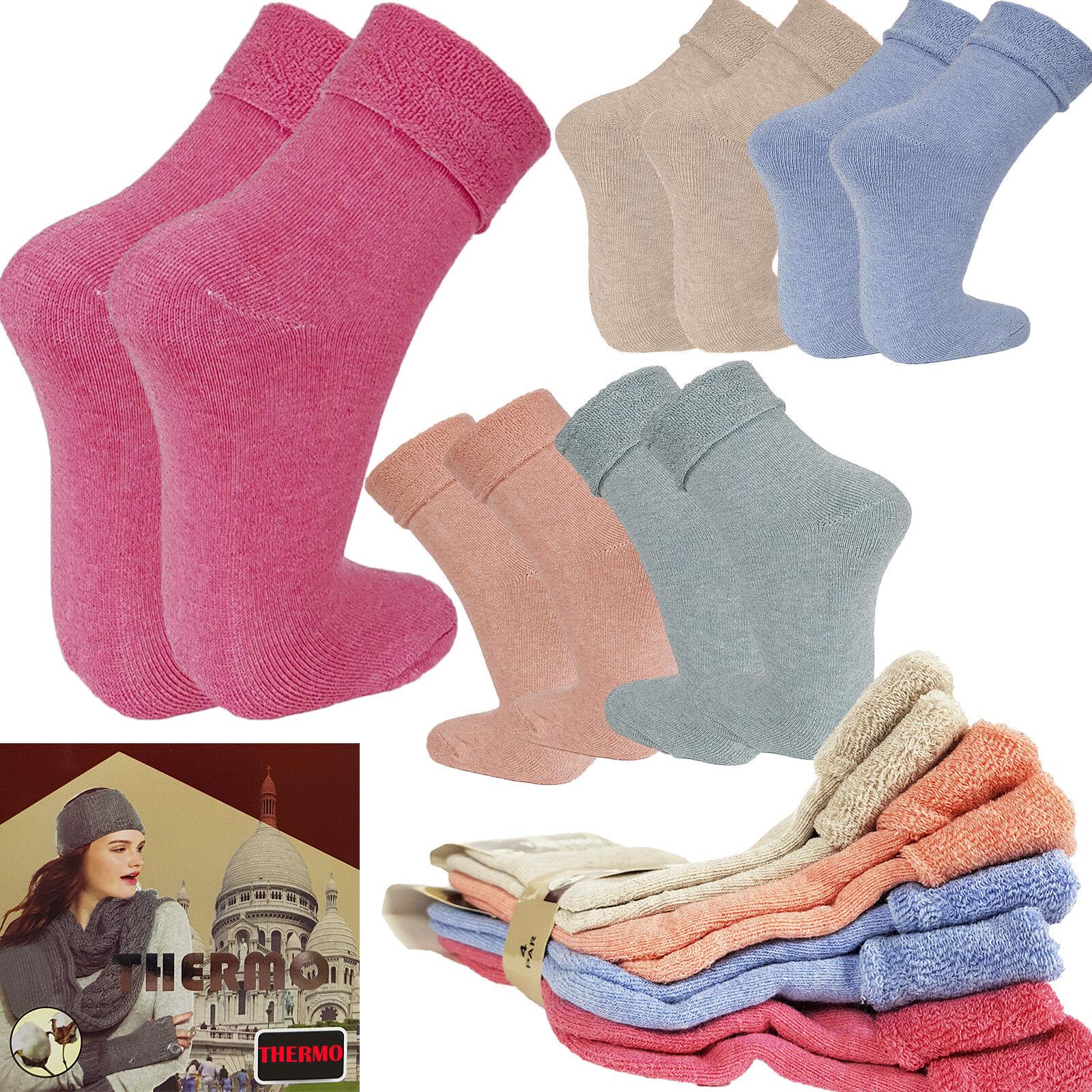 Thermo Socken Damen Herren winterstrümpfe extra warm 4 x Mix Farbe Neu