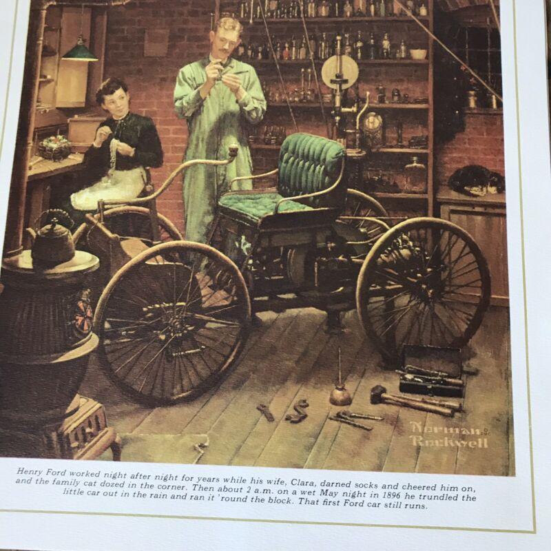 Henry Ford PRINT 1953 Norman Rockwell art Lithograph Vtg Car Workshop Pendant Lt