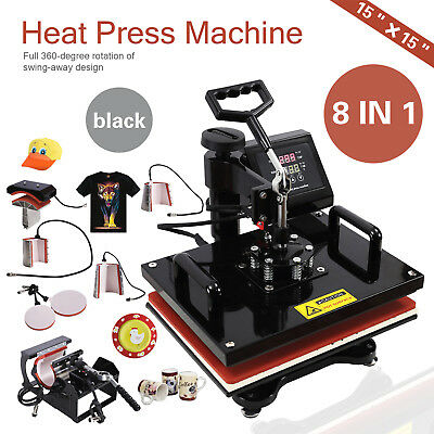 8 In 1 Heat Press Machine Transfer Sublimation Cap T-shirt Hat Printing 15x15