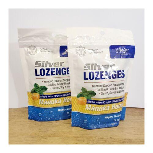 (2) Silver Lozenges Manuka Honey 60 ppm Biotech Labs SilverSOL 21 ct EXP 2022