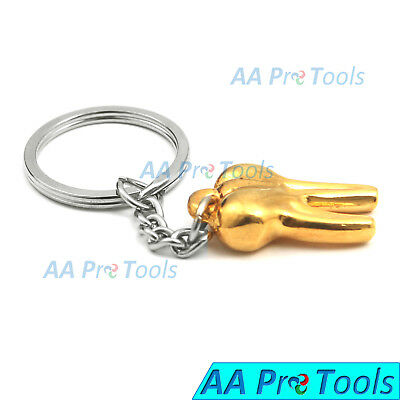 Dentist Hygienist Keychain Molar Shape Gold Color Gift Promo Item Key Chain