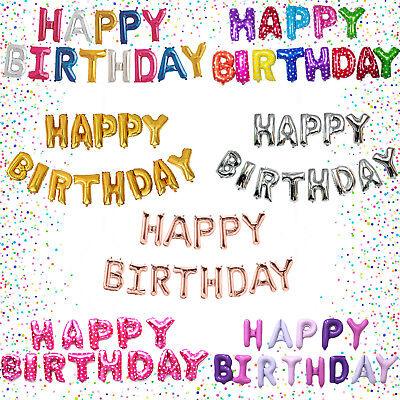 13 tlg Happy Birthday Folienballons Luftballons Buchstaben Geburtstag Party Deko ()